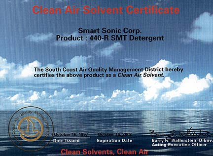 Clean Air Solvent Certificate